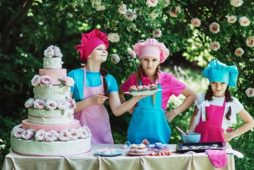 Children using safe bakeware